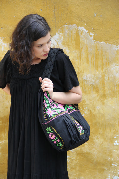 Black and multi colored pink and lime  Embroidered Huipil Boho Travel tote