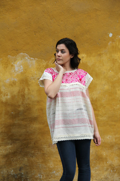 Small to medium Beige and fuchsia Two Birds de Paz hand woven and hand embroidered blouse