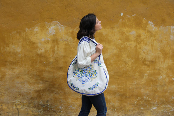 Beige and Multi colored blue and yellow Statement piece round hand embroidered tote