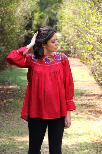 Red hand embroidered peasant blouse