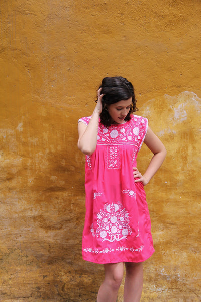 Pink with white embroidery Puebla Dress