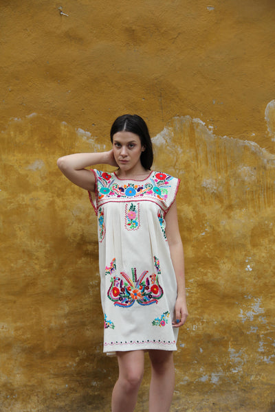 Beige and Multi colored embroidery Puebla Dress