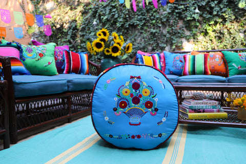 Blue and Multi Colored and embroidered  Pouf  Ready to ship Floor Cushion