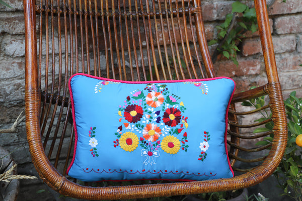 Blue and Multi colored Puebla Collection  Sham created from huipil kaftans