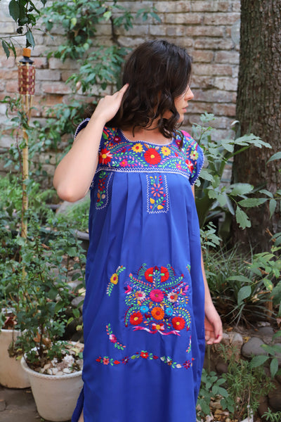Blue and multi colored embroidery Puebla Dress