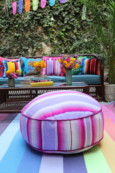Pinks and lavenders serape and embroidered  Pouf  Ready to ship Floor Cushion