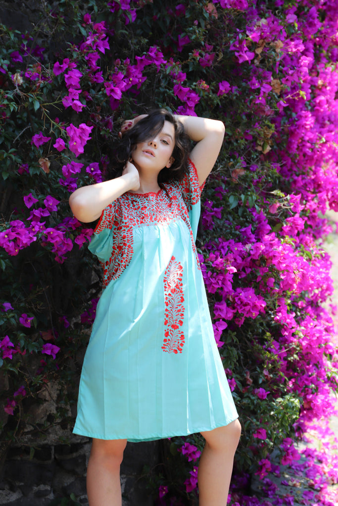 Mexican Wedding Dress.Short Aqua With Red Embroidery Mexican Wedding Dress