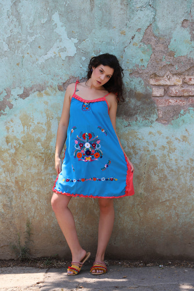 Blue and coral pink  of a kind Hand Embroidered Mexican Spaghetti strapped dress