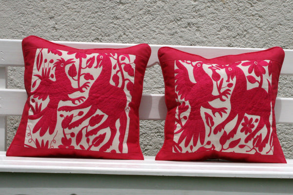 Was 198 now on clearance Hot Pink Fuschia LARGE Piped Folk Art Pillow Sham-Otomi Embroidery Pair Ready to ship