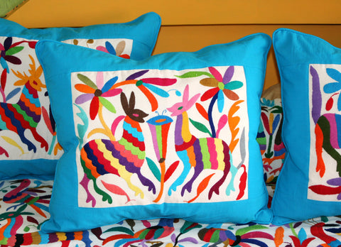 Was 109 now on clearance Multi Colored Otomi Pillow Sham Piece with Turquoise framing-Ready to ship
