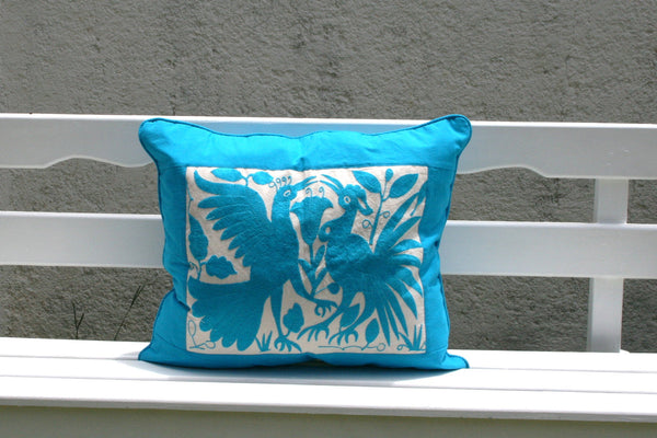 Turquoise Colored Otomi Pillow Sham Piece with Turquoise framing-Ready to ship
