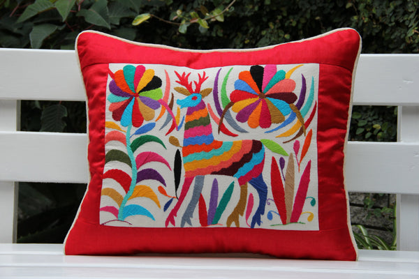 Red and multi colored Summer Silk and Otomi Pillow Sham with artisan woven textiles
