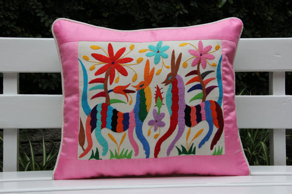 Pink and multi colored Summer Silk and Otomi Pillow Sham with artisan woven textiles
