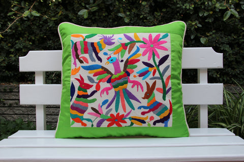 Fan page special was 163 Lime and multi colored Summer Silk and Otomi Pillow Sham with artisan woven textiles