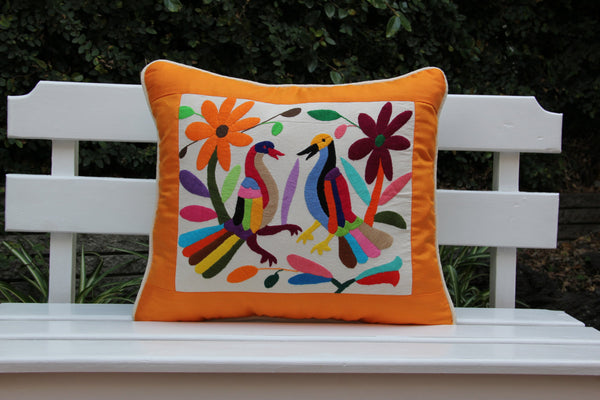 Orange and multi colored Summer Silk and Otomi Pillow Sham with artisan woven textiles
