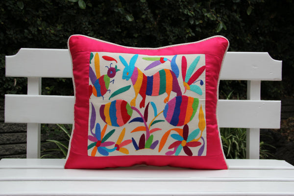 Fuchsia and multi colored Summer Silk and Otomi Pillow Sham with artisan woven textiles