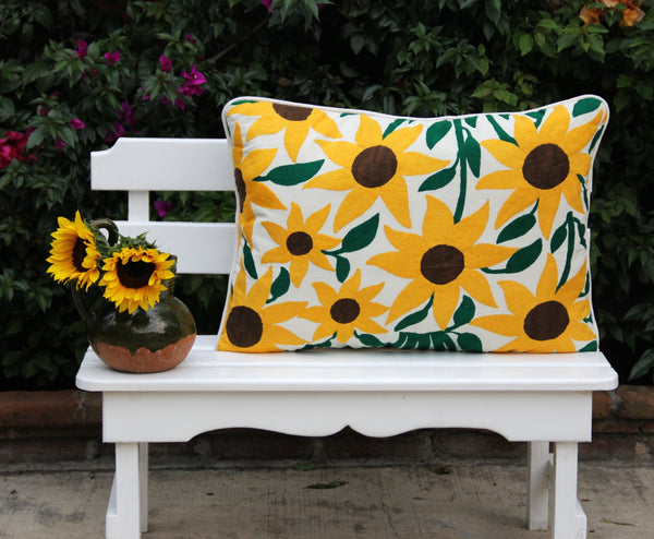 Was 239 on sale now OVERSIZED Sun Flower Otomi Sham made out of a nice raw linen