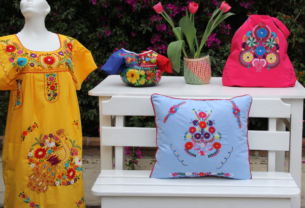 Sky Blue and Multi colored Puebla Collection  Sham created from huipil kaftans