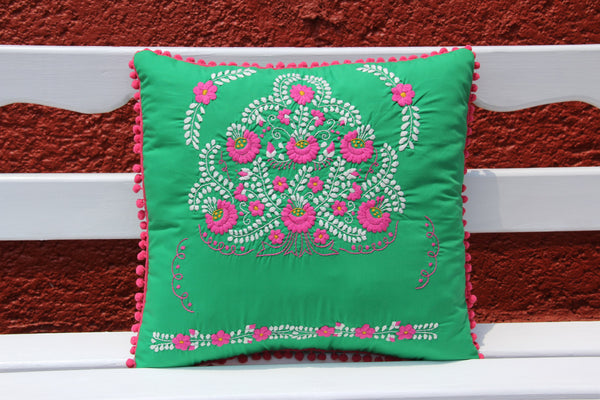Pom Poms Green and Multi colored Puebla Collection  Sham created from huipil kaftans