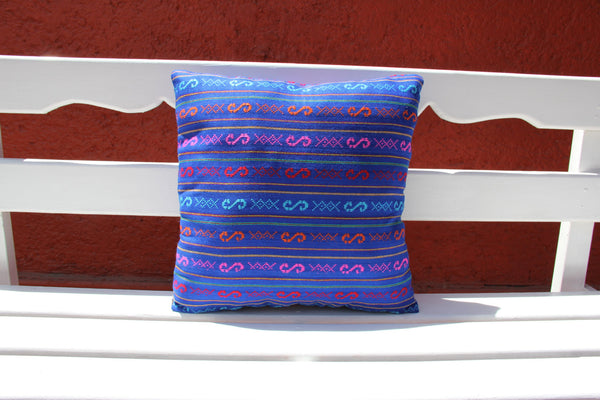 Multi colored blue pillow sham Ready to ship.