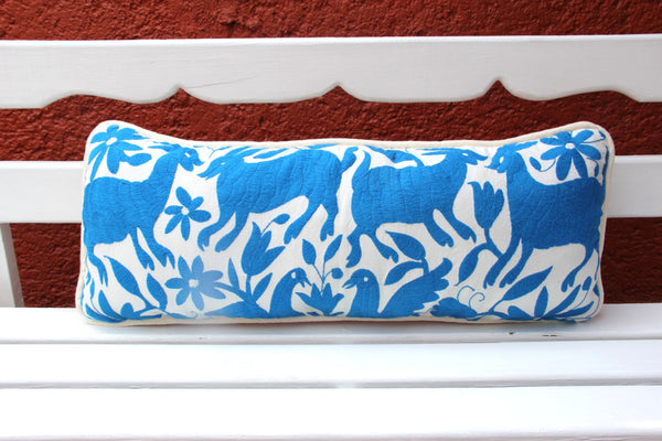 Perriwinkle blue Lumbar Hand Embroidered Otomi Cushion Sham