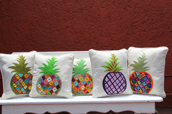 Pineapple  Otomi Sham Multi colored one of a kind cushion