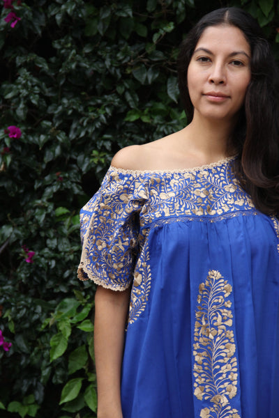 Cobalt Blue and antique gold embroidery Mexican Wedding Dress