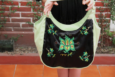 Black and Chartreuse Huipil tote  gorgeous hand embroidered  one of a kind  handbag