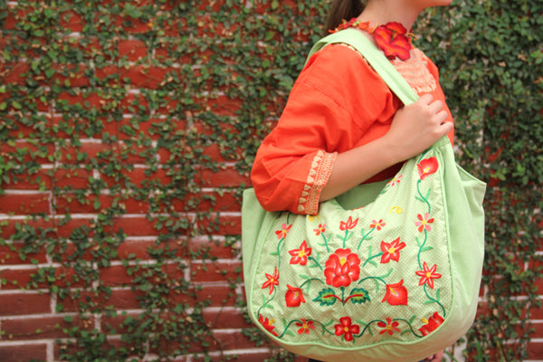 Chartreus and Spring orange VINTAGE Huipil tote  gorgeous hand embroidered  one of a kind  handbag