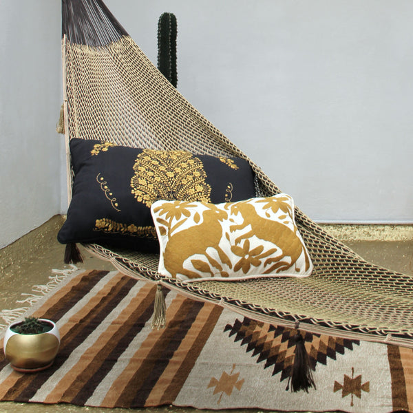 Oversized Piped Black and gold  Sham created from huipil kaftans Ready to ship