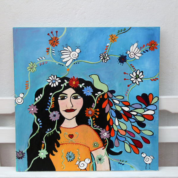 Puebla girl Folk Art Original Oil Painting
