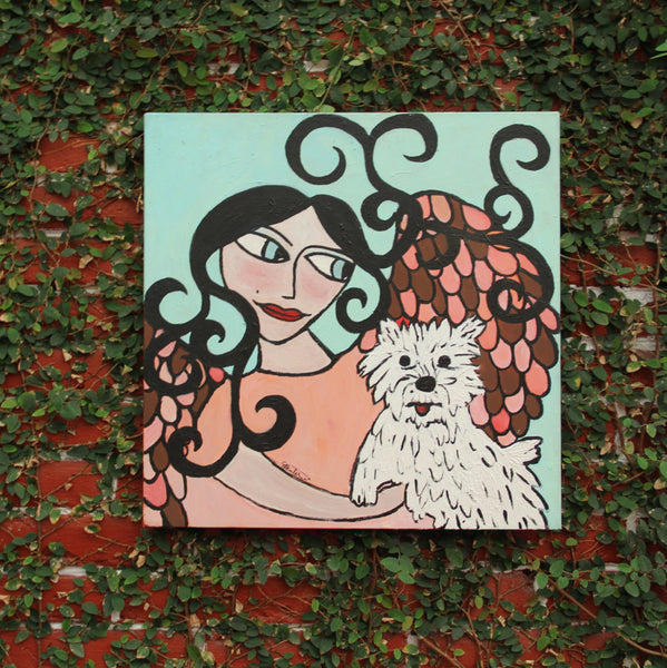 Otto's Angel Folk Art Original Oil Painting