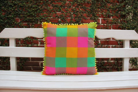 Clearance Sale was 81 Multi colored pink orange fuschsia lime pom pom pillow sham Ready to ship.