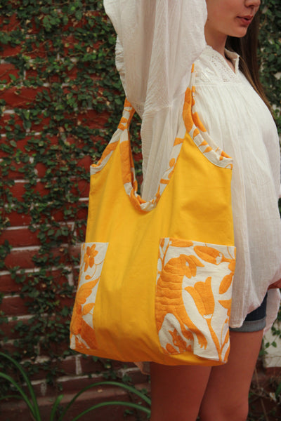 Yellow Otomi Hand embroidered tote with hand embroidered details