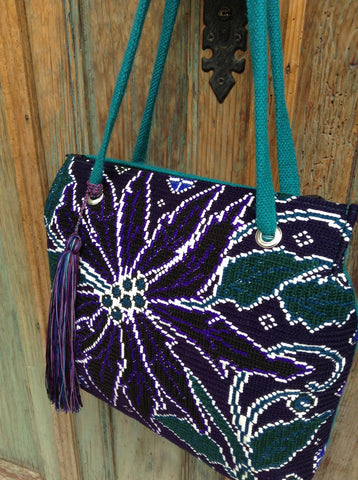 On sale was 122 now 64 Upcycled vintage needle point embroidered  Chiapas tote
