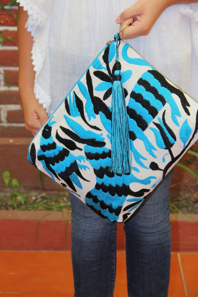 Otomi Black and Turquoise Clutch Vegan