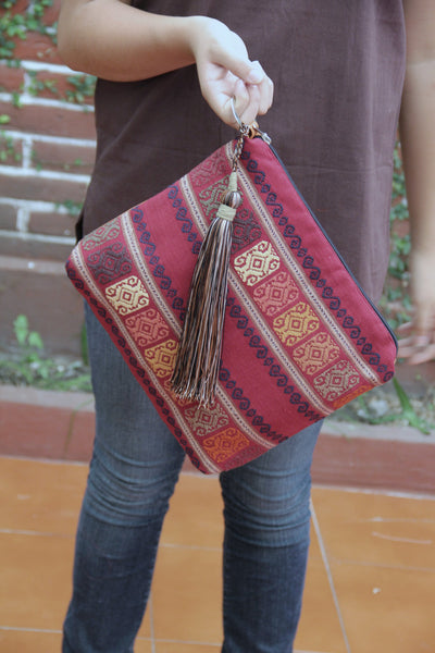 Was 76 now 54  Mexican textile hand woven vegan clutch