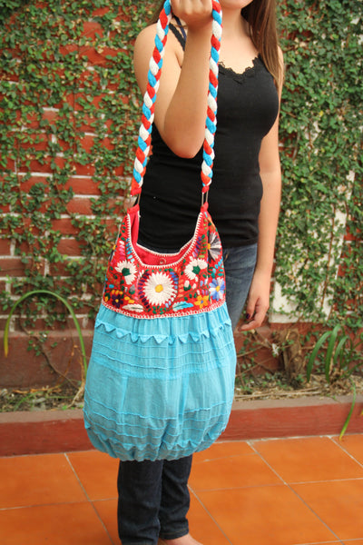REd and Turquoise hand  Embroidered Huipil Boho Travel tote