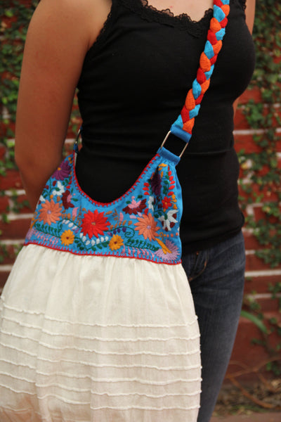 blue and White  hand  Embroidered Huipil Boho Travel tote