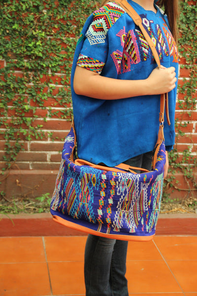 Viajera travel tote huipil and leather