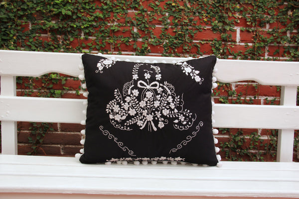 Pom Poms Black and white Puebla Collection  Sham created from huipil kaftans