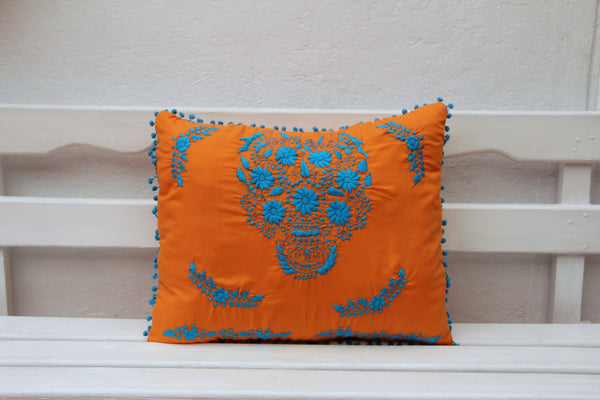 Orange and turquoise Puebla Collection  Sham created from huipil kaftans