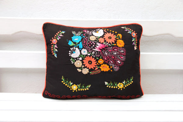 Black and Coral Puebla Collection  Sham created from huipil kaftans