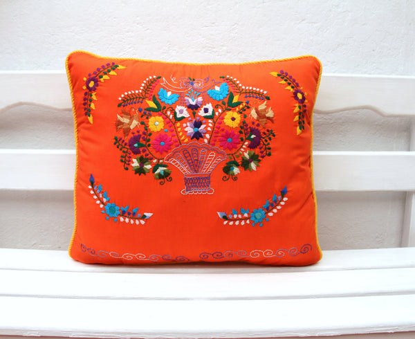 Orange and yellow Puebla Collection  Sham created from huipil kaftans