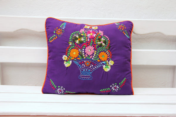 Purple and Orange Puebla Collection  Sham created from huipil kaftans