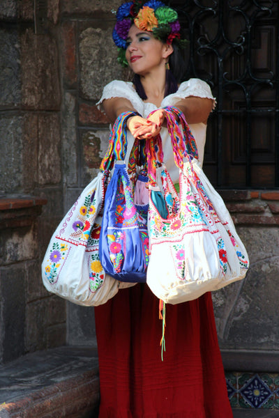 WHOLESALE pre-order for  6  Embroidered Huipil Boho Travel totes