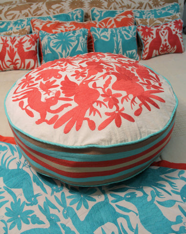 Round Coral and aqua Pouf  Ready to ship original Floor Cushion Pet Bed