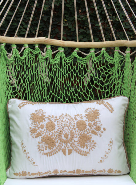 White and tan Puebla Collection  Sham created from huipil kaftans