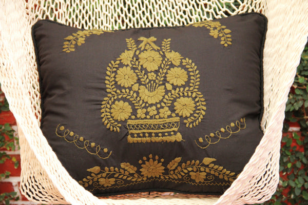Black and Chartreus Puebla Collection  Sham created from huipil kaftans