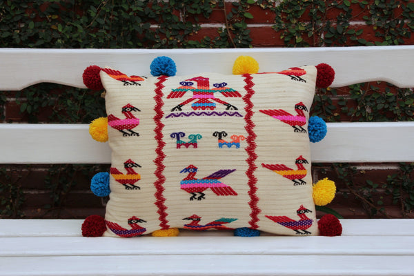 Beige Hand Woven and Hand Embroidered Sham with pom poms